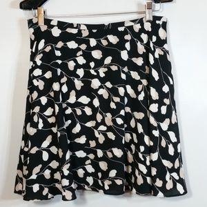 Vine A-Line Fluid Skirt Black White Tan Floral NEW
